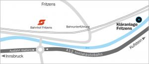 Anfahrt Abwasserverband Hall in Tirol Fritzens